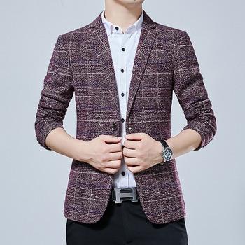 Grid Men Suit Slim Fit Autumn Han Male Check Pattern Big Code Small Suit Chao Leisure Single West