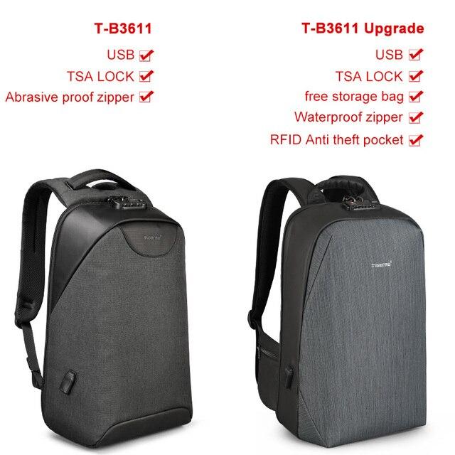 No Key Anti theft TSA Lock Fashion Men Backpacks 15.6 inch USB Charging 6