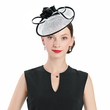 Wedding Woman Hat For Elegant Banquet Fedoras Hats Royal Prom Church Fascinator Black Cocktail Tea Party Linen Feather Cap