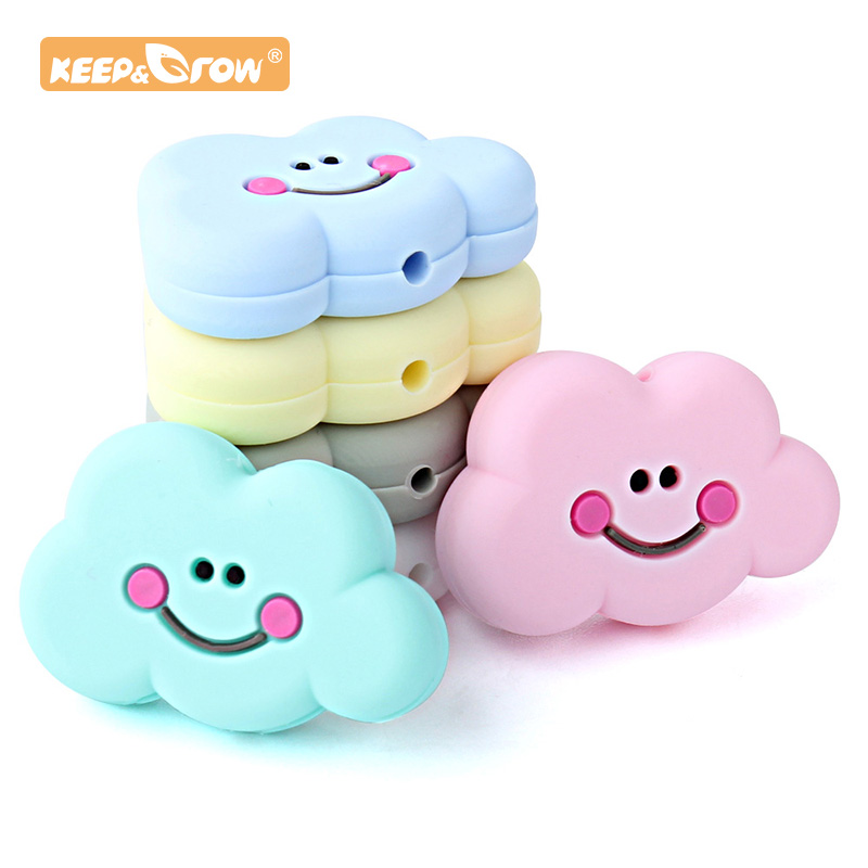 Keep&Grow 10 Pcs Cloud Silicone Beads Food Grade Baby Teething Toy DIY Baby Nursing Accessories And Gifts Baby Teether BPA Free