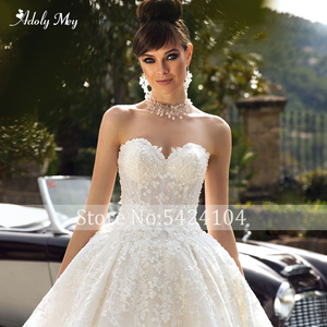Image 4 - Adoly Mey Glamorous Appliques Royal Train Lace Ball Gown Wedding Dress 2020 V Neck Beaded Off the Shoulder Princess Bridal Dress
