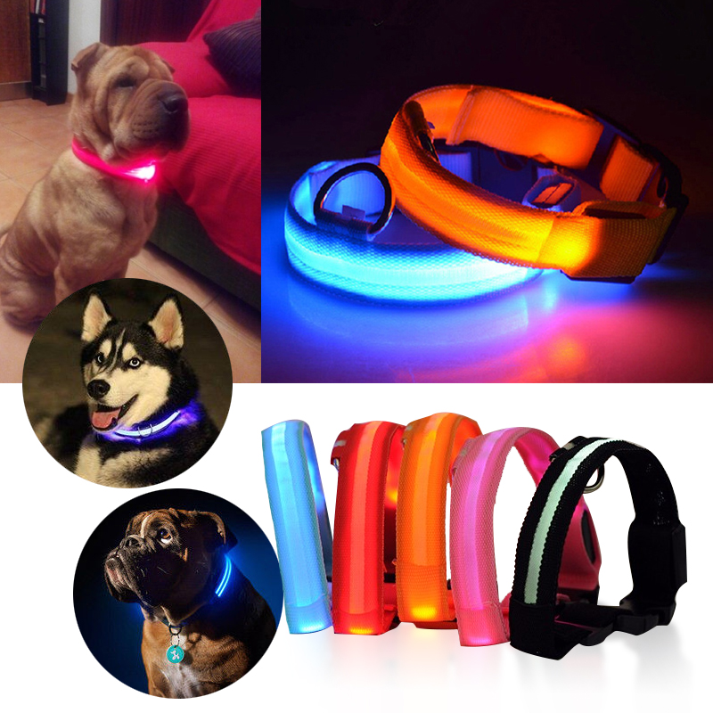 Pet Dog Collar Flashing Luminous Safety Light Up Nylon Dog Supplies Pets Products Accessories Pet Collar USB Rechargable LED Shop