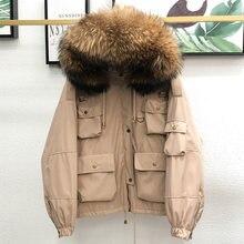 Grand manteau en fourrure de raton laveur naturelle pour femme, Parka épaisse, 90% duvet de canard blanc, à capuche, court, ample, vêtements d'extérieur, hiver