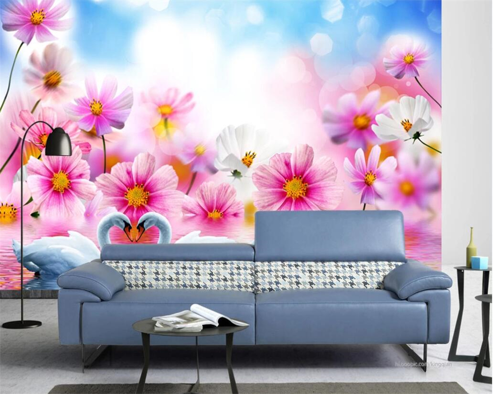 Custom photo wall flower fantasy romantic flower swan lake living room bedroom tv background wall painting