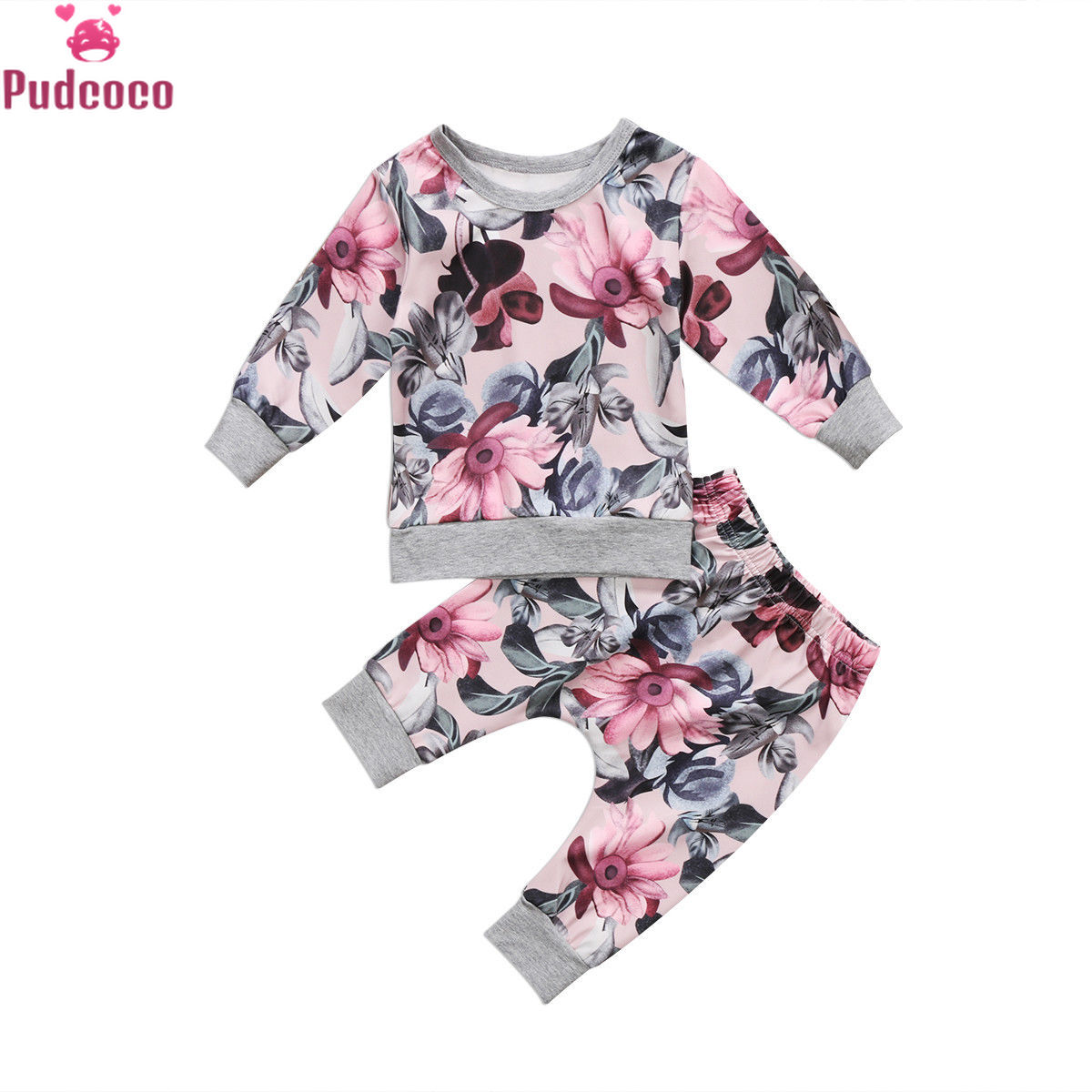2019 Autumn Winter 2pcs Baby Clothing Newborn Infant Baby Girls Long Sleeve Print T-shirt Tops+Floral Pants Outfits Set