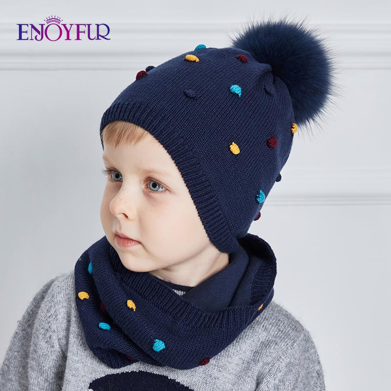 ENJOYFUR Baby Hat And Scarf Set Cotton Knitted Winter Hats Real Fox Fur Pompom Ears Caps Dot Boy Cap Girl Thick Warm Beanies