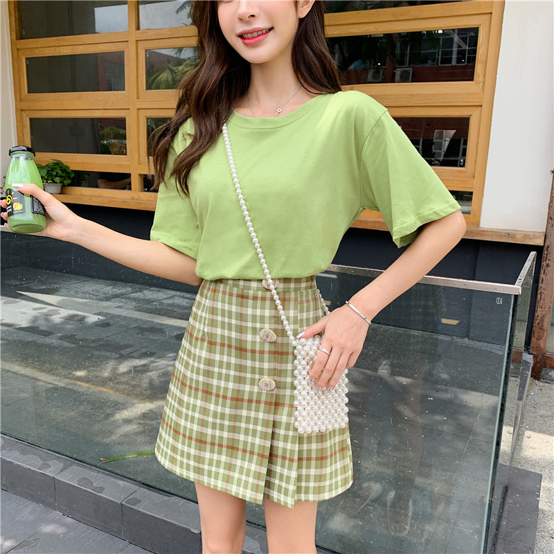 2019 New Style France Retro Avocado Green Over-the-Knee Matcha Green Forest Women's Very Fairy Two Pieces Dress Outfit