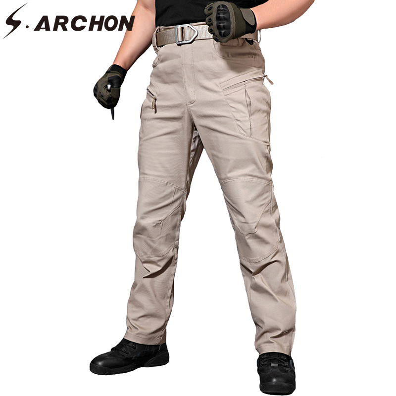 S.ARCHON IX8 Tacitical Cargo Pants Men Cotton Pant Muti-pockets Casual Workout Stretch SWAT Combat Army Military Trousers Male