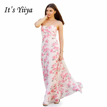 Its Yiiya Evening Dress Sexy Strapless Women Party Dresses Elegant Print Robe De Soiree  Plus Size Formal Gowns C529