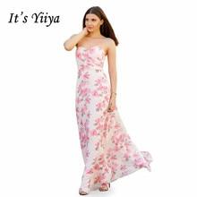 Its Yiiya Evening Dress Sexy Strapless Women Party Dresses Elegant Print Robe De Soiree  Plus Size Formal Gowns C529