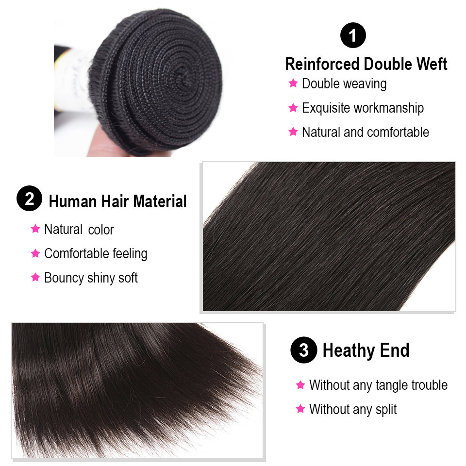 Beauty Grace Brazilian Hair Weave Bundles With Closure Human Hair Extension Non-Remy 4 Straight Hair Bundles With Closure