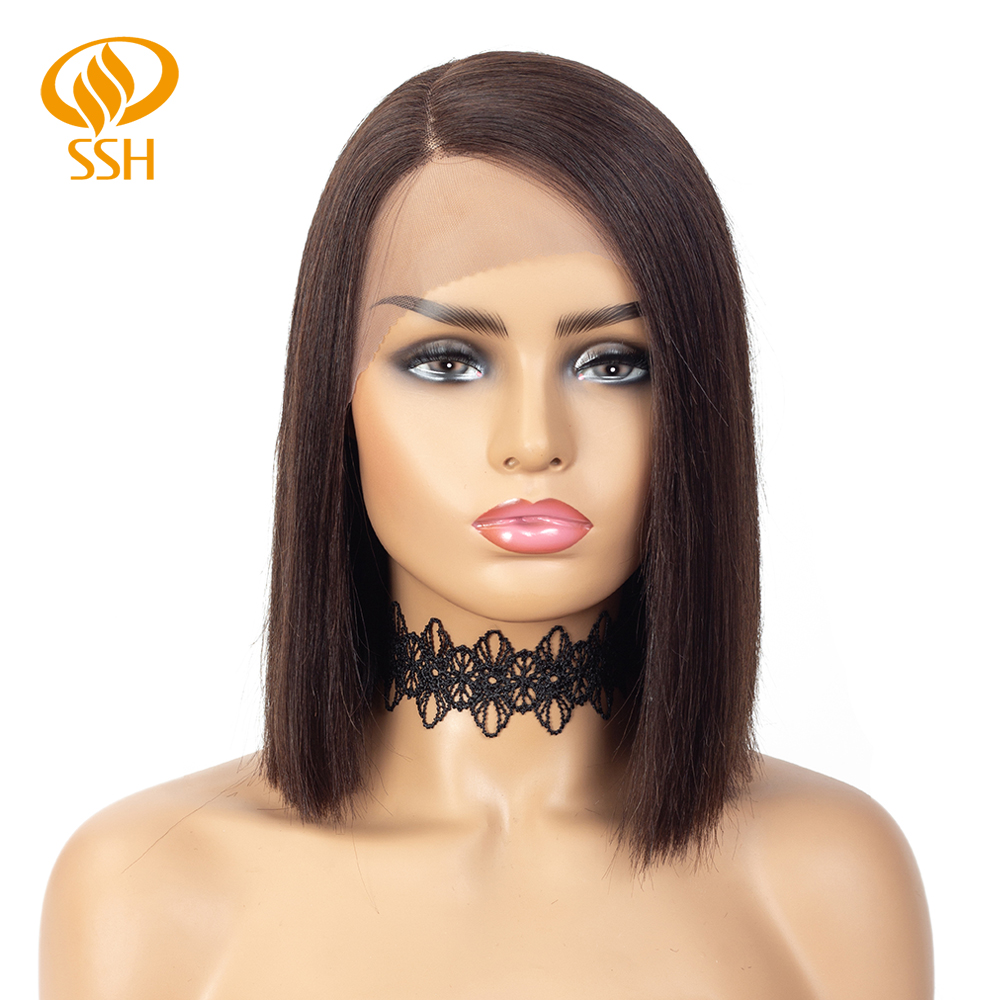 SSH Lace Part Short Straight Brazilian Remy Human Hair Wigs For Black Women Bob Wig Side Part Pre Plucked Natural Black Color