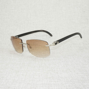 Image 2 - רטרו עץ Oversize משקפי שמש גברים טבעי שחור לבן באפלו הורן משקפי נטולי מסגרת עבור חיצוני קיץ Oculos Gafas
