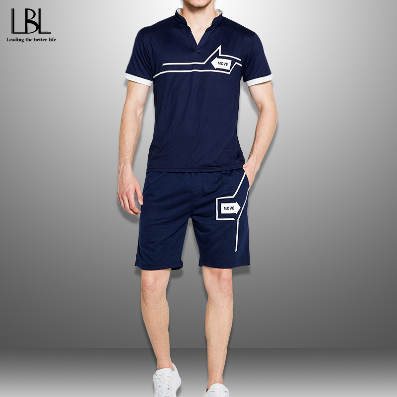 Summer Tracksuit Men 2020 Casual Short Sets New Fashion Sports Suit Man Printing T Shirts + Shorts 2 Piece Set Men's Sportswear