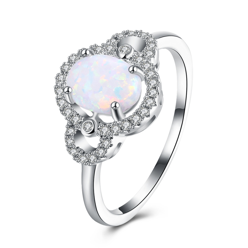 Opal-Ring Wedding-Jewelry Silver Engagement White Fashion R2086 CZ Round Elegant
