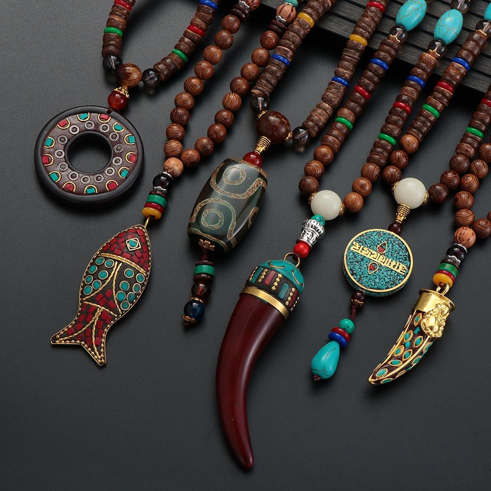 Unisex Handmade Necklace Nepal Buddhist Mala Wood Beads Pendant & Necklace Ethnic Fish Horn Long Statement Men Women's Jewelry