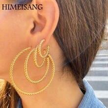 Himeisang Модные Позолоченные Круглые скрученный круг серьги