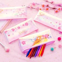 Sakura Pattern Laser Pencil Case Pink Girl Stationery Storage Bag Cosmetic Transparent School Office Stationary