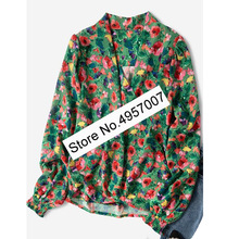 Elfbop Ladies Floral Printing Wrap V Neck Blouse Shirt Top