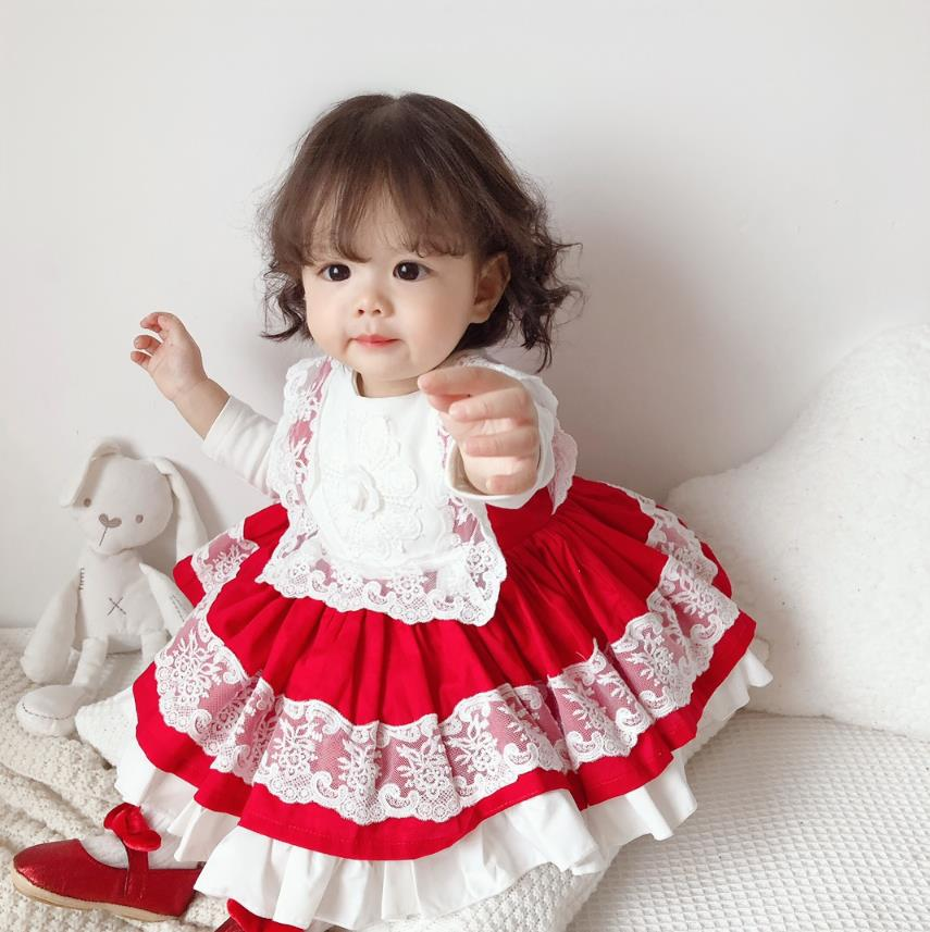 2PCS 12M-6T Summer Spanish Lolita Princess Dress Lace Stitching Red Dress For Girl Birthday Party Vestidos 2687  Wholesale