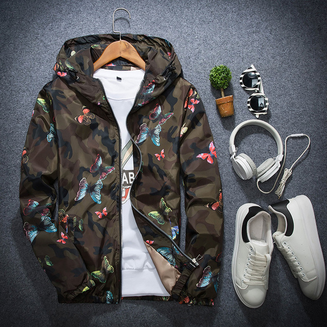 Mens Casual Camouflage Hoodie Jacket 2018 New Autumn Butterfly Print Clothes Men's Hooded Windbreaker Coat Male Outwear WS505 2