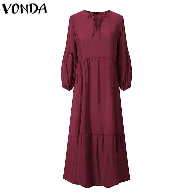 VONDA yaz elbisesi kadın Bohemian Maxi uzun elbise 2019 kadın rahat uzun elbise tatil plaj Sundress artı boyutu Vestidos S-5XL