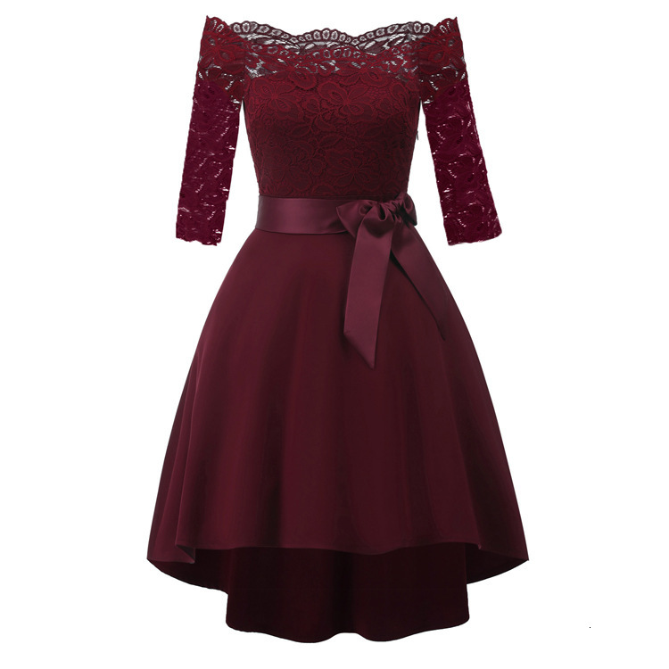 BacklakeGirls Sexy Off Shoulder 3/4 Sleeves Lace Cocktail Dress Bow Tie Woman Dress Short Homecoming Dress Graduación
