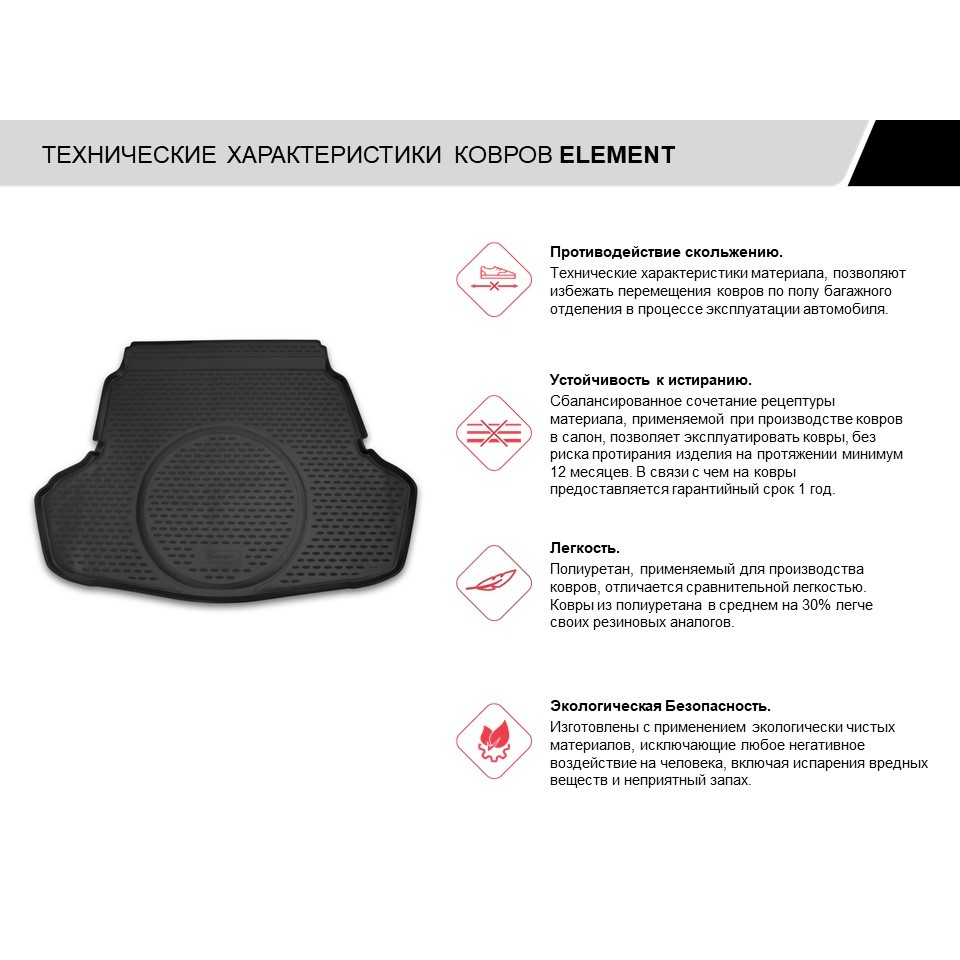 Trunk Mat For SKODA Rapid 2013-> ETS. NLC.45.15.B10