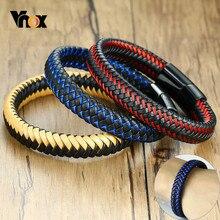 Vnox-pulsera de cuero trenzado de 12mm para hombre, brazalete Retro informal, de acero inoxidable