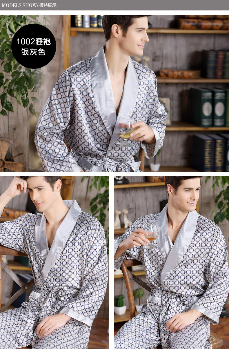 Men Home Clothes Nightgown Summer Satin Kimono Gown Casual Sleepwear Plus Size 3XL 4XL 5XL Print Gold Home Dressing Robe