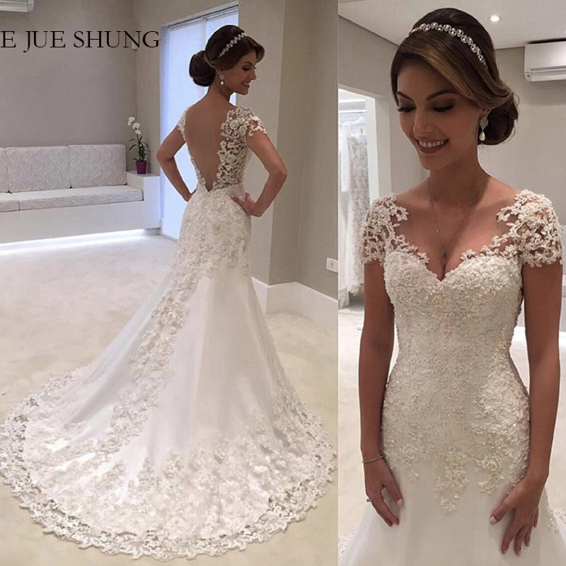 E JUE SHUNG White Lace Appliques Mermaid Wedding Dresses Cap Sleeves Backless Bride Dresses Wedding Gowns
