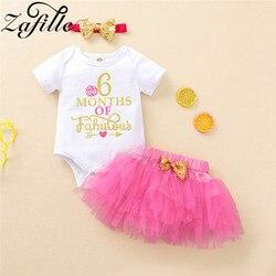 ZAFILLE Одежда для новорожденных девочек 6 месяцев розовая пачка торт половина дня рождения наряд для маленьких девочек платье летняя одежда д...