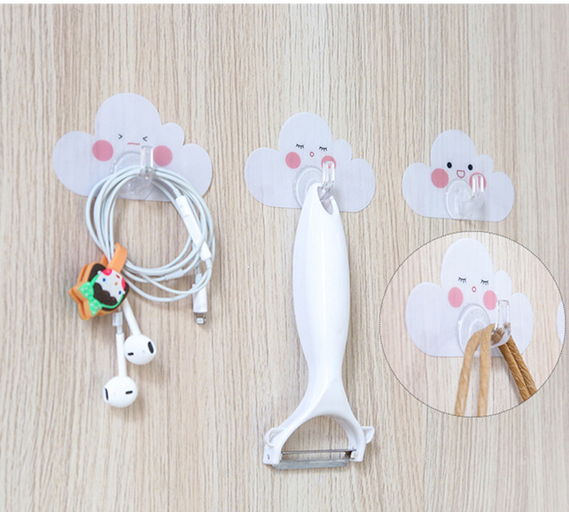 4 Pcs/Set Seamless Adhesive Hook Strong Sticky Hook In The Shape of Cloud Door Hanger Cute Style Door Hook for Kitchen|Hooks & Rails| |  - title=