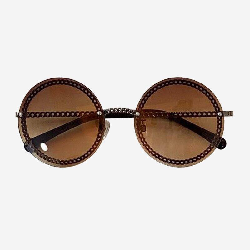 Cadeia rodada Óculos De Sol de Marca Designer de Alta Qualidade Shades Oculos de sol Feminino Da Forma Do Vintage com Caixa de Embalagem - 5