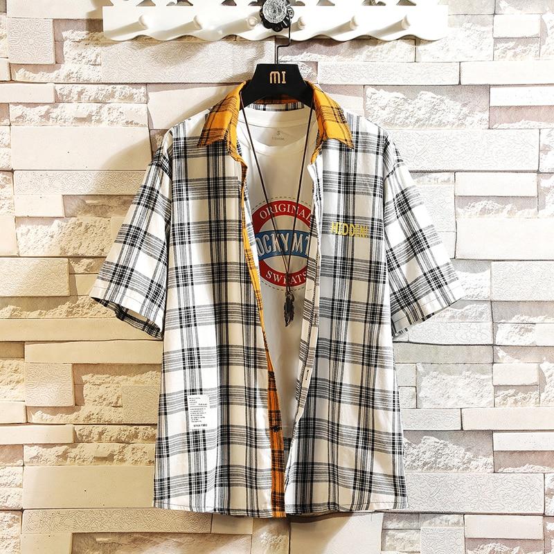 Plaid Brand 2020 Summer Men's Beach Shirt Fashion Short Sleeve Loose Casual Shirts Plus Asian SIZE M-4XL 5XL 6XL Hawaiian