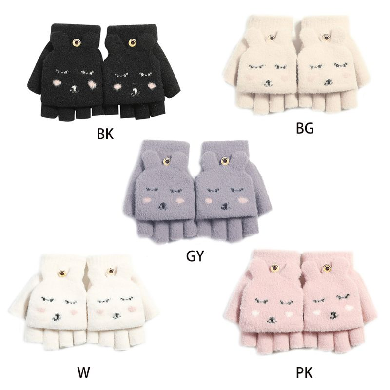 Women Girl Winter Thicken Plush Convertible Flip Top Gloves Cartoo Rabbit Mitten