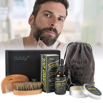 Premium Beard Oil Grooming Kit All-Natural Beard Oil Boar Bristle Brush with Set Box for Men Care Tools