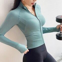 Бесшовные толстовки для женщин на молнии пальто для тренировок с длинным рукавом Tumb отверстие фитнес тренажерный зал одежда мятный укороче...