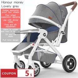 Cochecito de bebé puede sentarse cochecito de bebé ligero plegable de cuatro ruedas alto paisaje carrito de bebé de 0-3 años de edad
