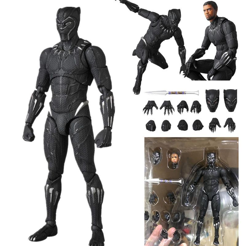 16cm Avengers Endgame 4 Infinity War Mafex 091 Black Panther Action Figure PVC Movable Collection Of Toy Gifts