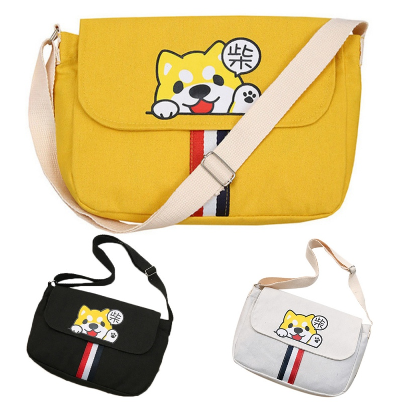 Purse 2019 New Fashion Canvas Shoulder Bag Crossbody Little Shiba Inu Square Bag Striped Single Shoulder Bag