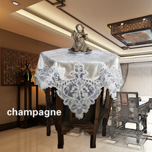 Luxury European Velvet Lace Embroidery Tablecloths Furniture Cover Towel Balcony Coffee Round Table Mat Christmas Wedding Tapete