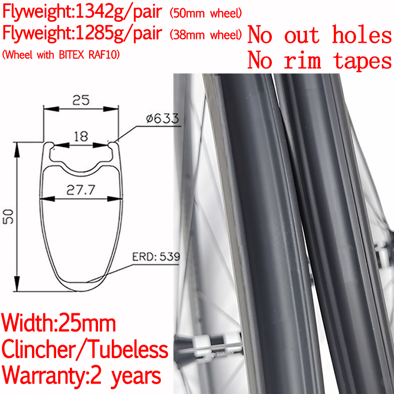 No <font><b>rim</b></font> tapes super light width 25mm road bike carbon clincher tubeless wheels ceramic hub high TG pillar 1420 38mm/50mm wheels image