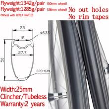 цена на No rim tapes super light width 25mm road bike carbon clincher tubeless wheels ceramic hub high TG pillar 1420 38mm/50mm wheels