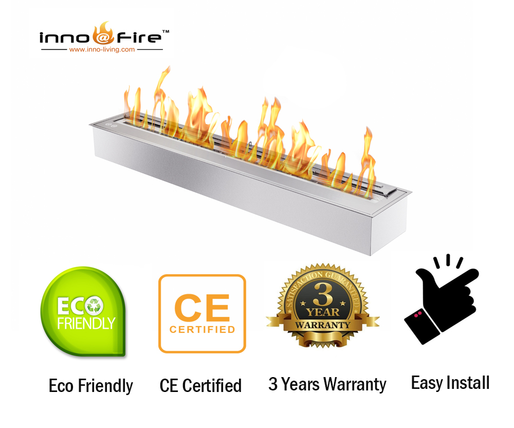 Inno Living Fire 62 Inch Stainless Steel Ethanol Fireplace Burner Inserts