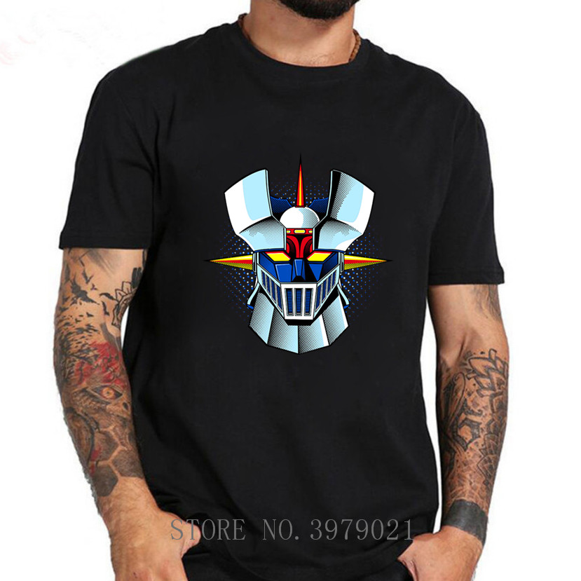 New Arrival Anime <font><b>Mazinger</b></font> <font><b>Z</b></font> <font><b>T</b></font> <font><b>shirts</b></font> men Anime old classic manga robot movie <font><b>T</b></font>-<font><b>Shirt</b></font> Black Basic boys Tees <font><b>shirt</b></font> image