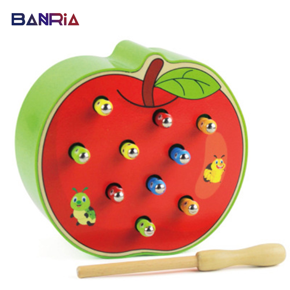 3D Wooden Toys Brain Catch Worm Game Baby Toys Early Educational Toys Cognitive Magnetic Strawberry/Apple Puzzles For Kids
