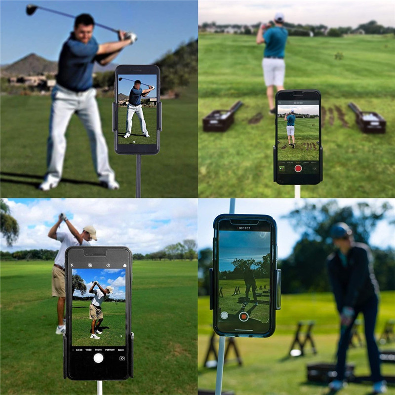 Golf Swing Record Phone Holder Cell Phone Clip Stand Bracket Support For Alignment Stick Golf Training Aids