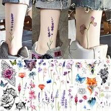 YURAN – faux tatouage temporaire imperméable pour femme, autocollant de cheville, fleur de cerise, lavande, pour bras et poitrine, personnalisé, Art corporel