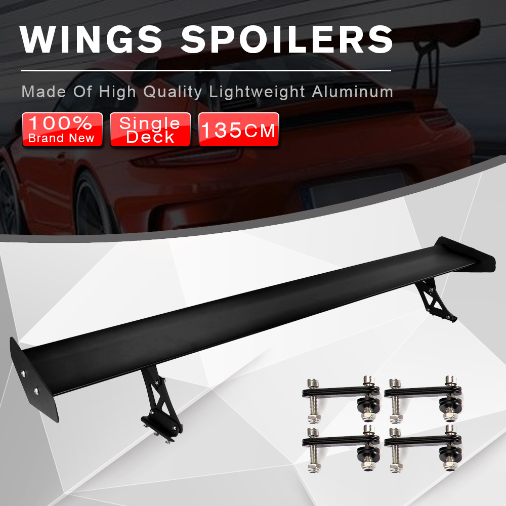 53.15inch Car Adjustable Lightweight GT Rear Spoiler Wing Racing Black Universal